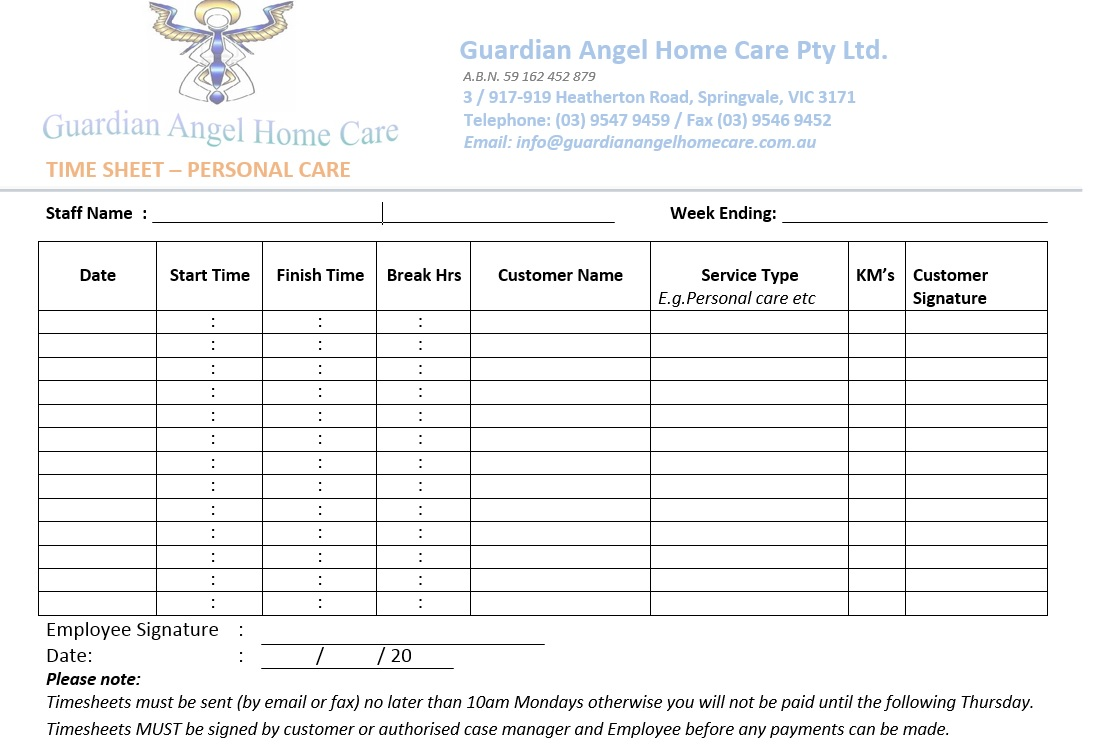 timesheets guardian angel home care